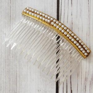 vintage gold white faux pearl hair comb barrette